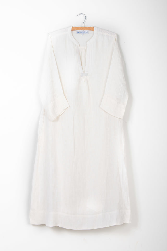Classic Dress in Rice White Silk Linen *one remaining*