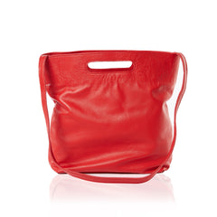 Women's Red Leather Convertible Handbag