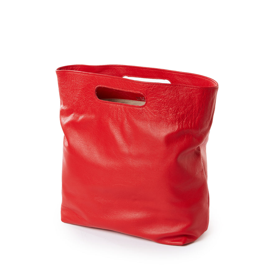 Red Leather Handbag with Removable Handle