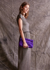 Purple Suede Clutch Purse