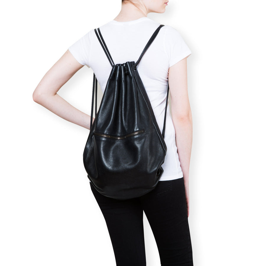 Drawstring Black Leather Backpack