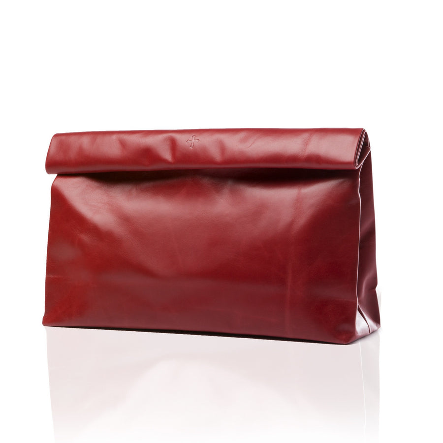 Women's Large Red Leather Clutch