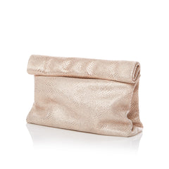Pink Embossed Metallic Clutch Handbag