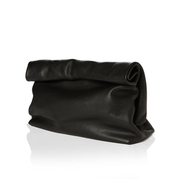 Large Black Rolltop Clutch Handbag