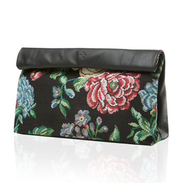 Marie Turnor Accessories Dinner Clutch Tapestry and Leather