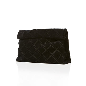 Quilted Black Suede Clutch Handbag