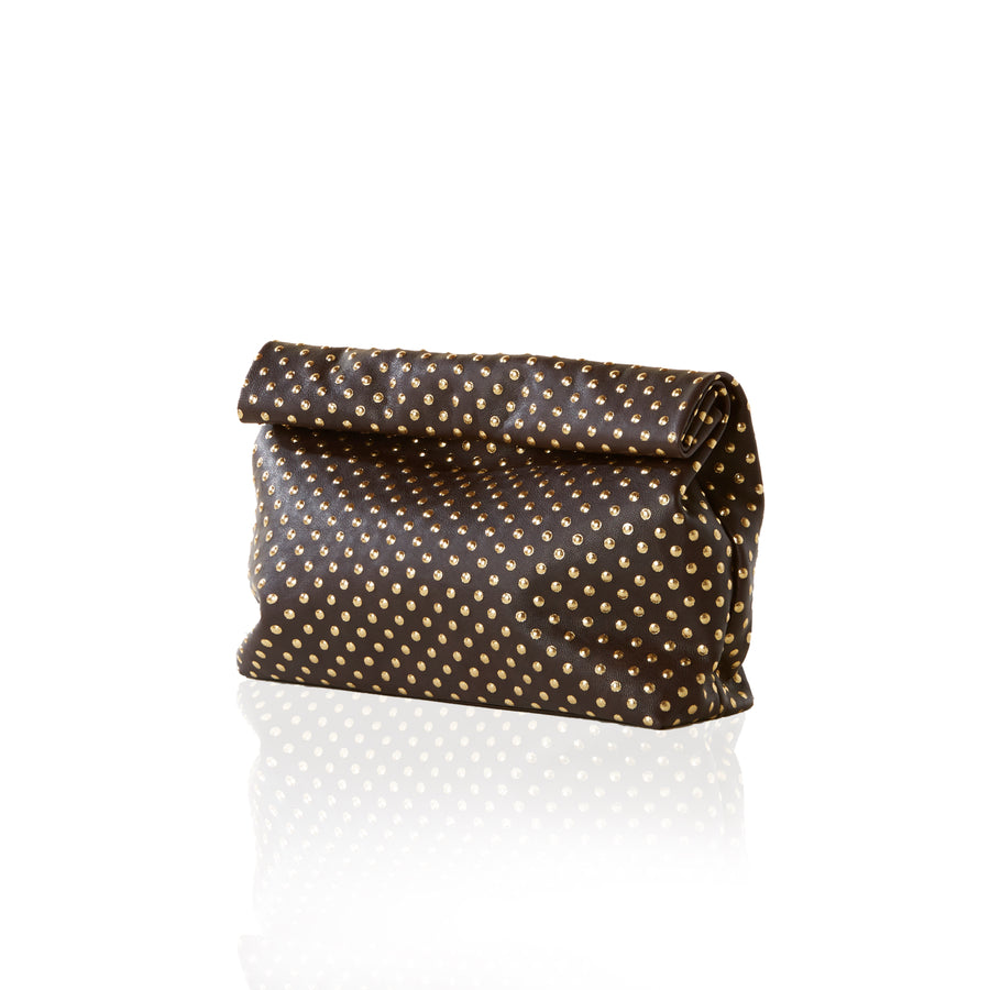 Women's black dotted clutch handbag