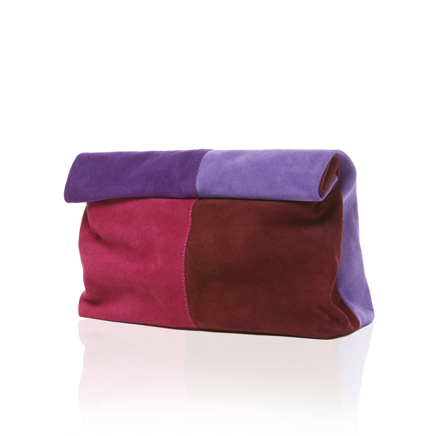 Colorblock Suede Clutch Handbag