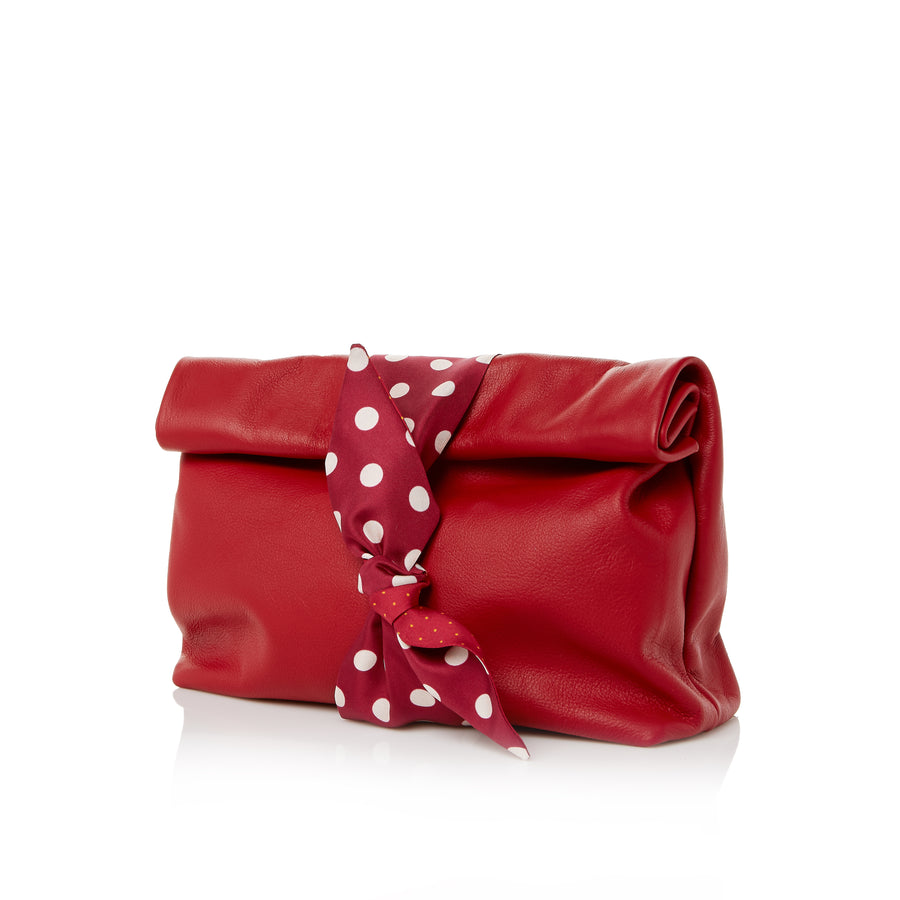 Red Leather Rolltop Clutch Handbag