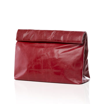 Large Red Leather Clutch Handbag