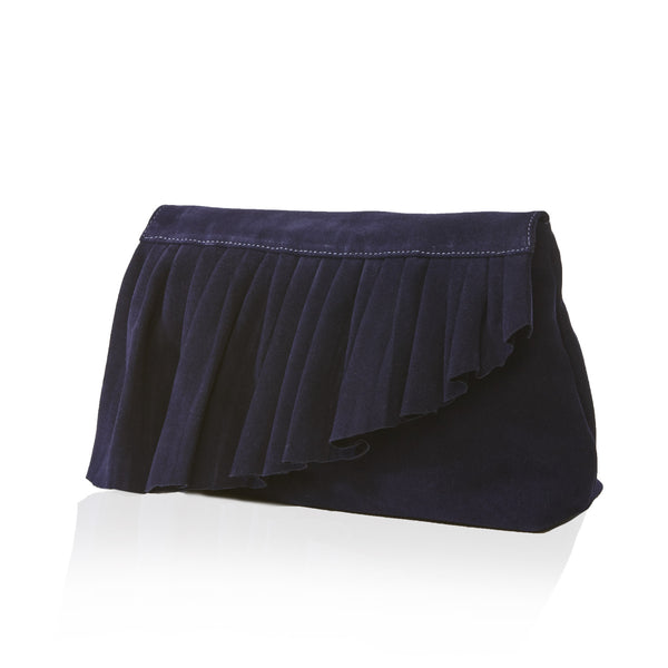 The Ruffle Clutch — Navy
