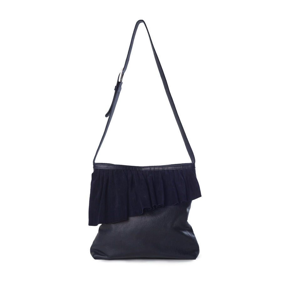 The Ruffle Shoulder Bag — Navy