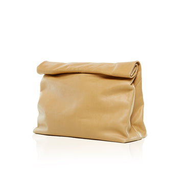 Women's Camel Leather Large Clutch