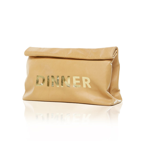 THE DINNER BAG - GOLD 'DINNER' PRINT