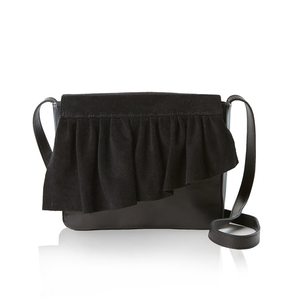 The Ruffle Crossbody Mini — Black