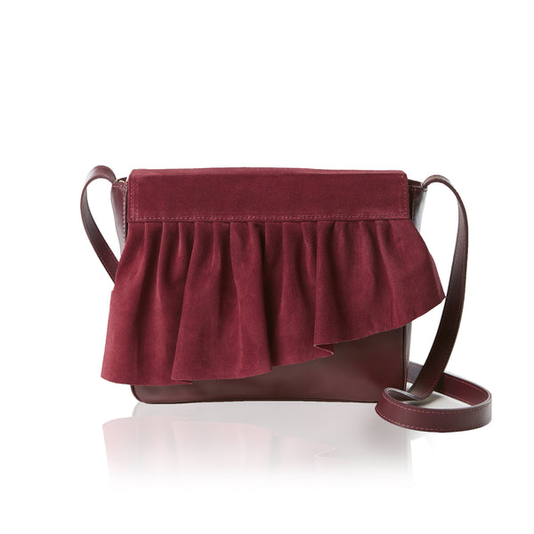The Ruffle Crossbody Mini — Burgundy