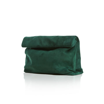 Women's Forest Green Suede Clutch Handbag