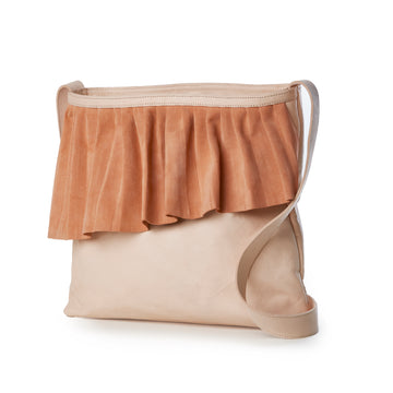 Women's Leather Ruffle Shoulder Bag