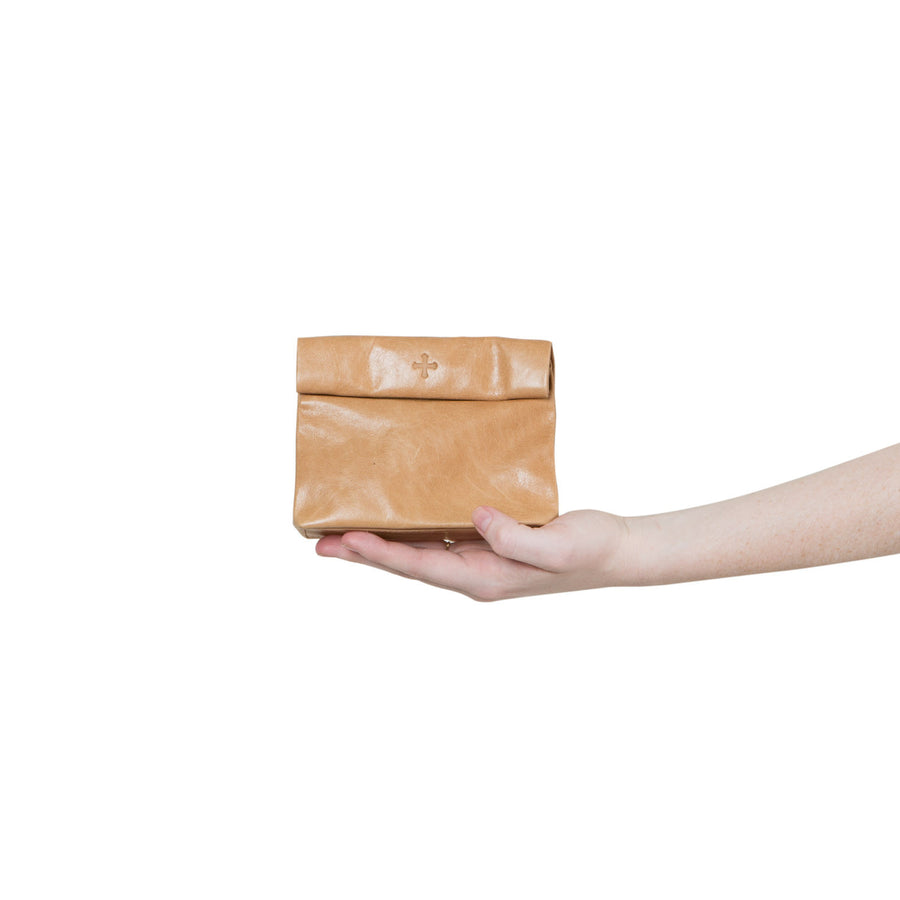 Small Roll Top Leather Storage Purse