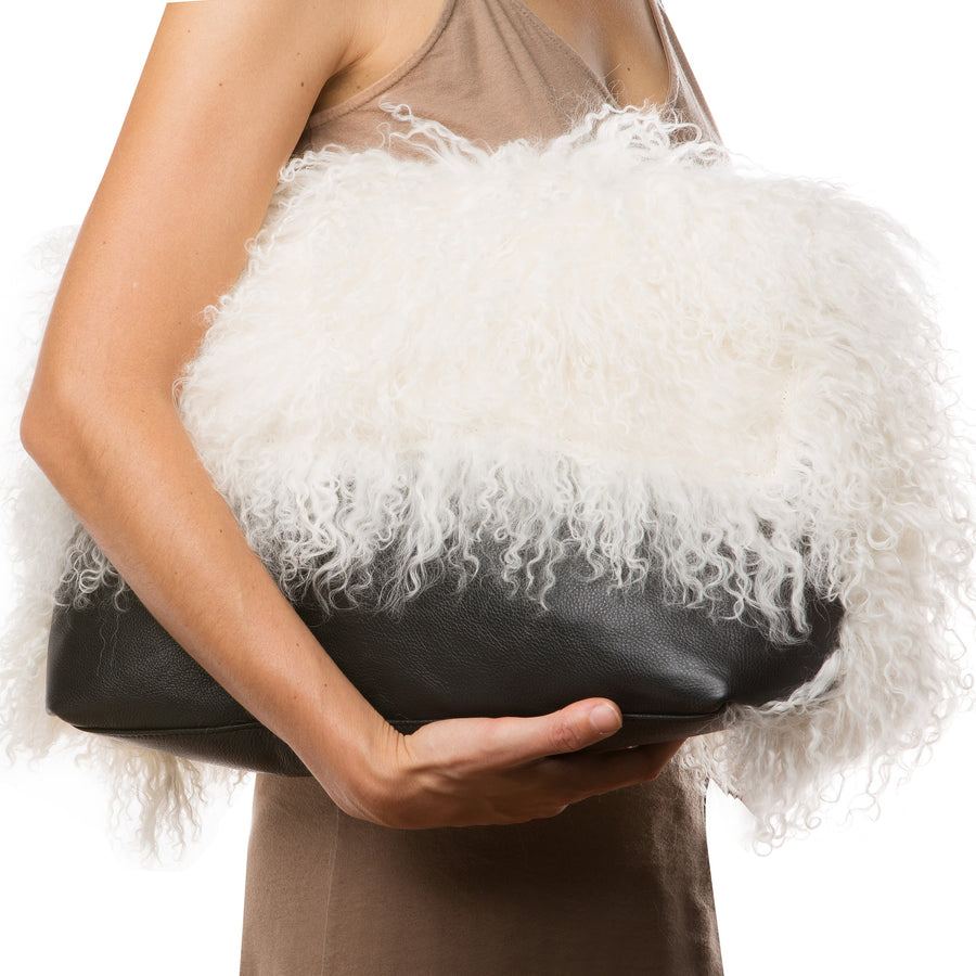 Marie Turnor The Big Fur Clutch Black and white