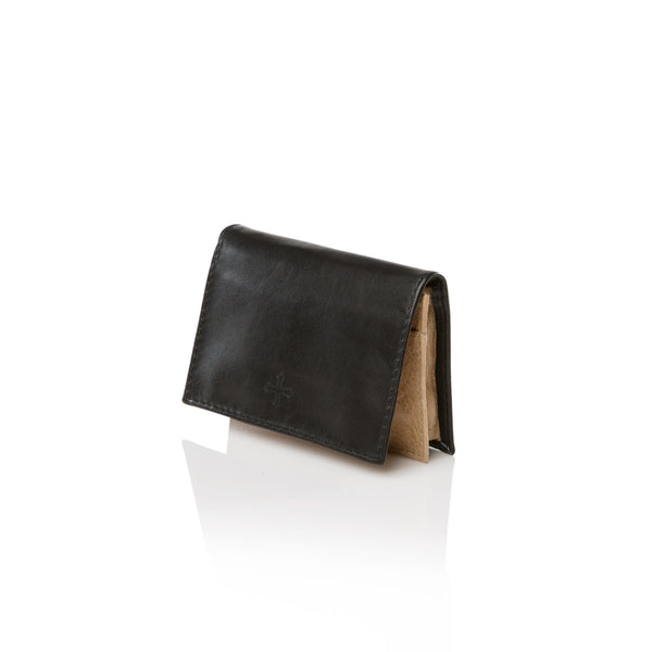 Double Card Case - Black and Tan