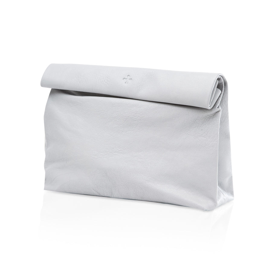 Marie Turnor The Lunch- White Pebble Leather Clutch