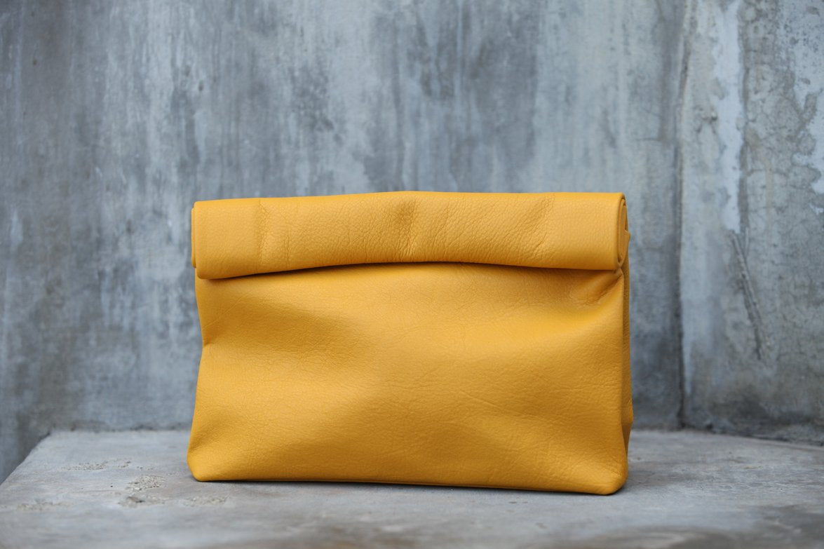 Marie Turnor Mustard Leather Lunch Bag