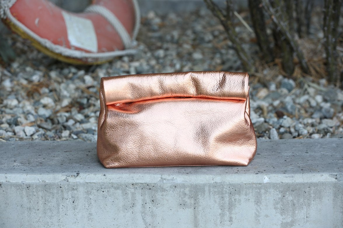 Marie Turnor Metallic Leather Lunch Clutch