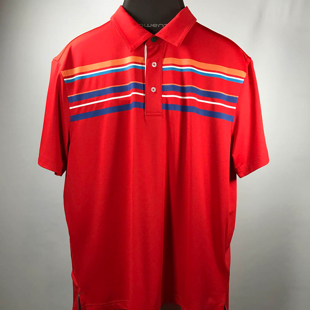 Red Striped Tommy Hilfiger TH Tec Golf Shirt