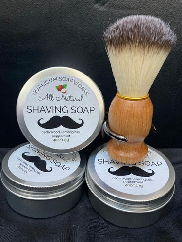 All Natural Shaving Soap Set with Brush & Rack