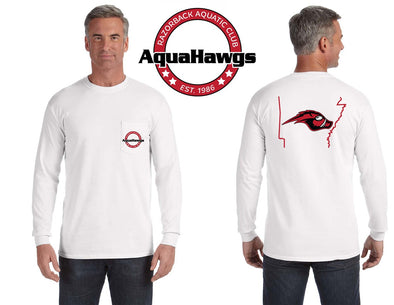 Comfort Colors Long Sleeve White Pocket AquaHawgs Tee