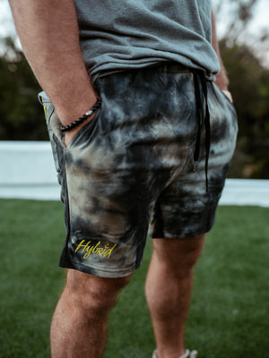 Hybrid Sweat Shorts Green Tie Dye