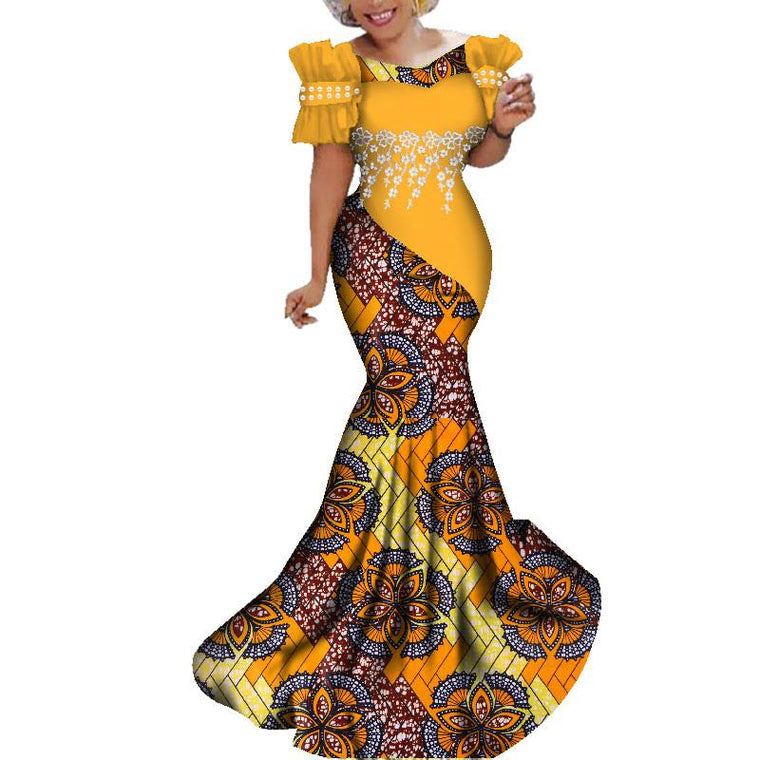 5e0e7eded6 African Dashiki Traditional Lace Flower Dresses