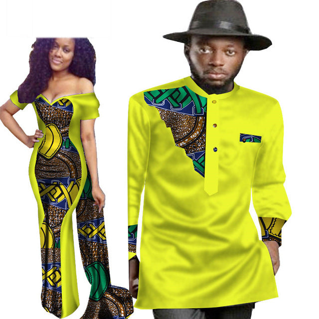 a37bc0ac156 2 Piece Set African Dashiki Print Couple Clothing Lovers Men S Shirt Top  Women Dress Party Wedding
