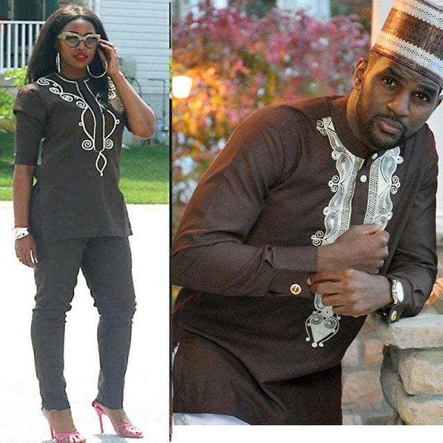 2cbefcf62 African Couple Clothes Women Men Dashiki Embroidery Outfit Suits Shirt Top  Pant 2 Pieces Set Africain