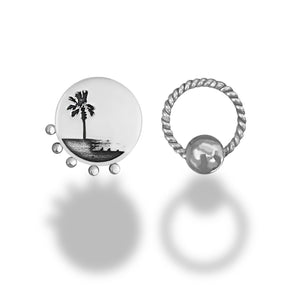 Palm Tree One-sided Earrings