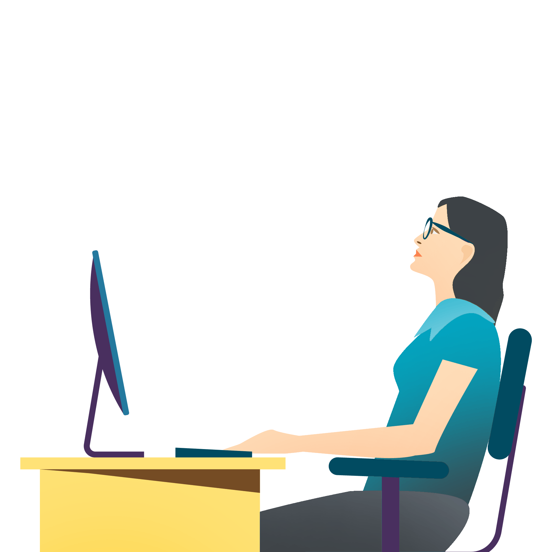 A woman with standard progressive lenses with improper posture working on a computer