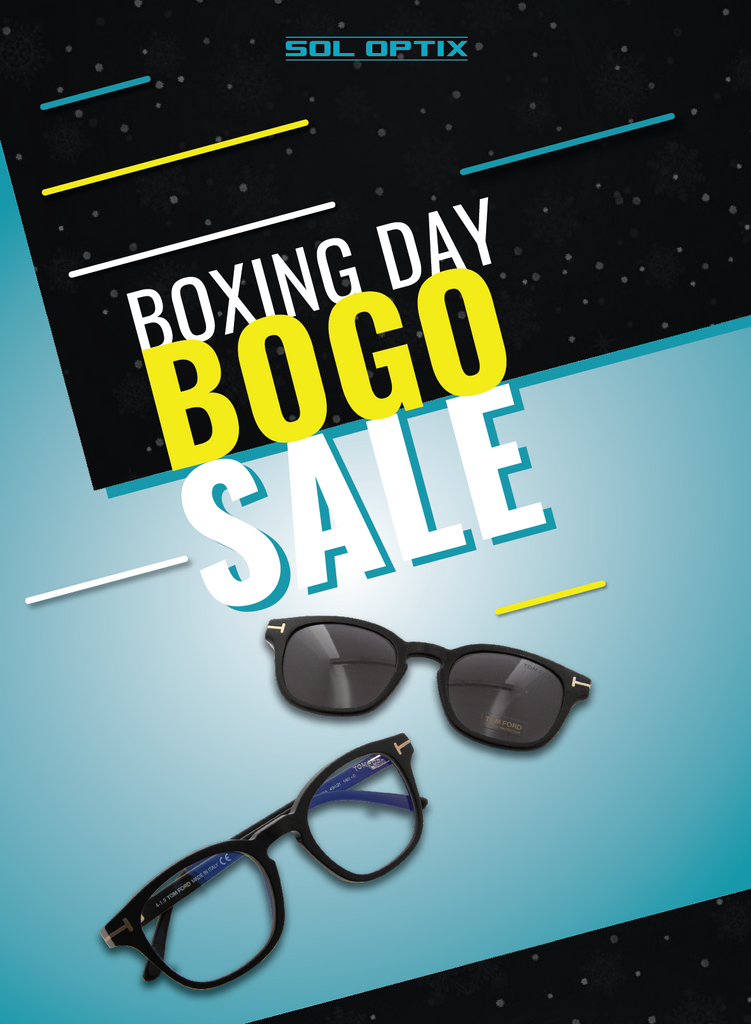 Boxing Day buy one get one sale on prescription eyeglasses and sunglasses