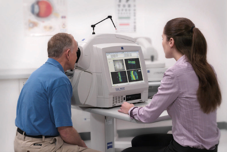 A man getting an optical coherence tomography (OCT) scan.