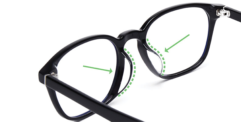 Asian-fit nose bridge for prescription eyeglasses.
