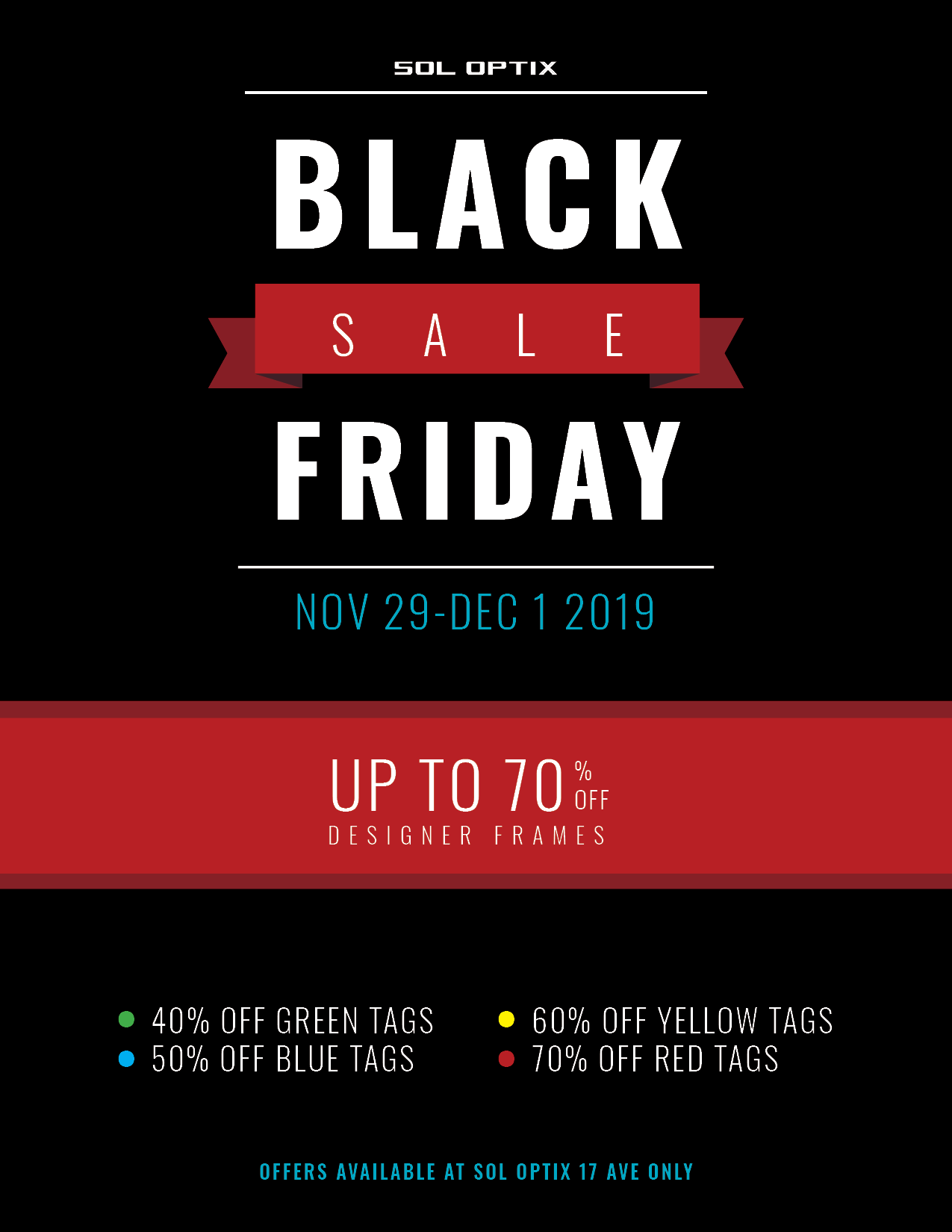 Promotional image of Black Friday Sale 2019 for designer eyeglasses and sunglasses.