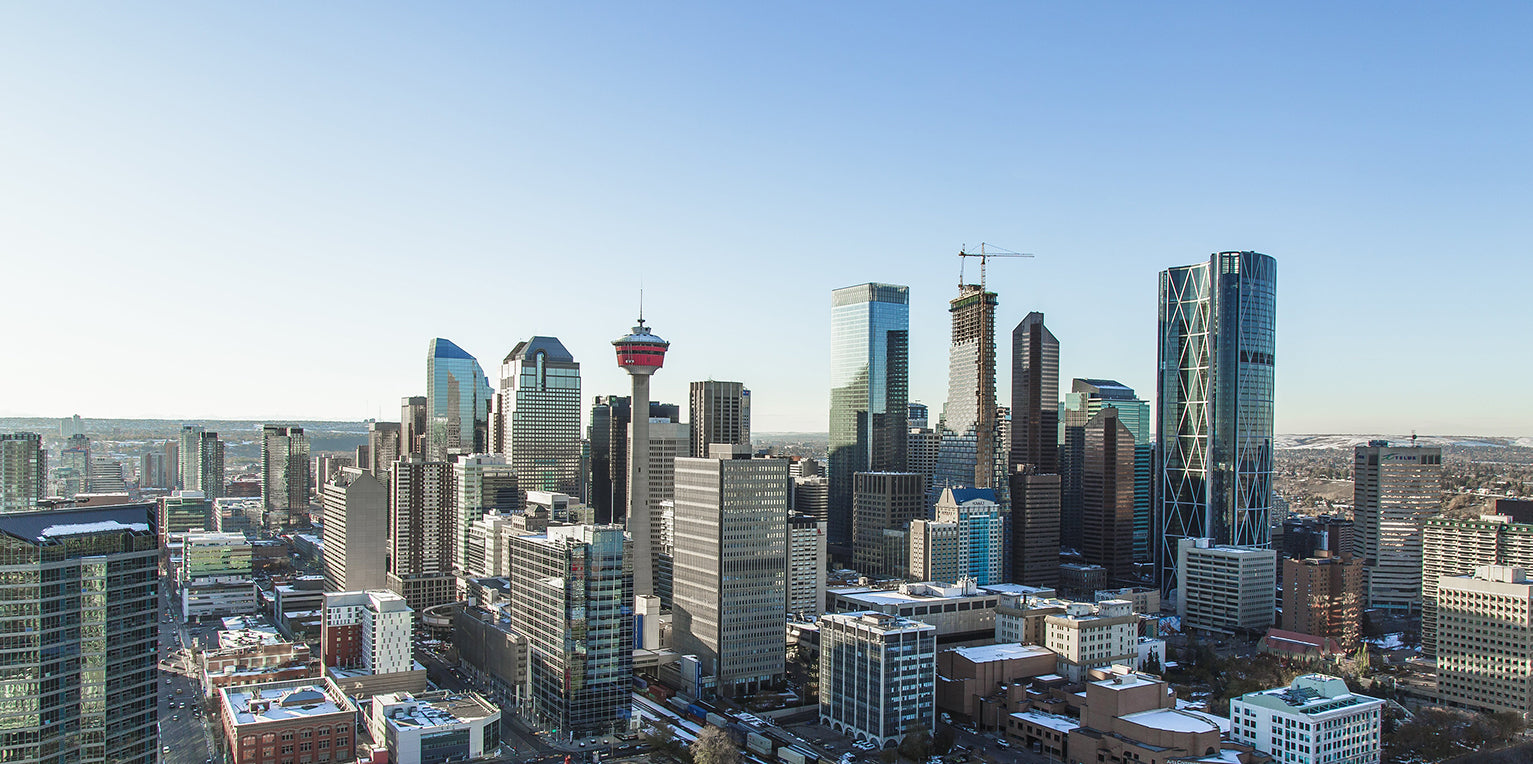 A cityscape view of high rise buildings in Calgary, AB
