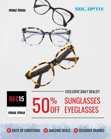 Three pairs of Miu Miu designer eyeglasses.