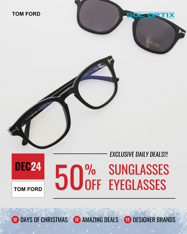 A pair of Tom Ford prescription eyeglasses with matching clip-on sunglasses.