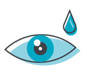 An eye and a drop of solution