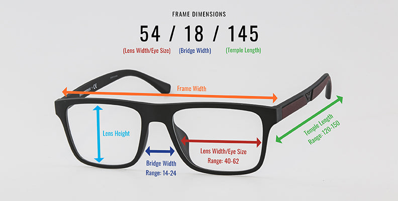 A sizing guide for prescription eyeglass frames.
