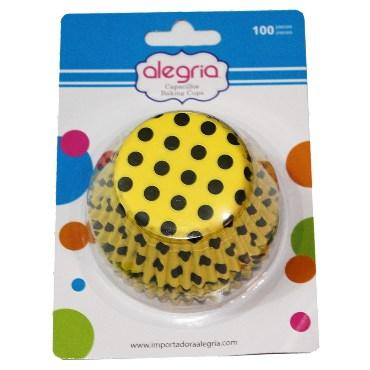 CAPACILLO STD AMARILLO DOTS 100 PZS - Super Dulcería Salas