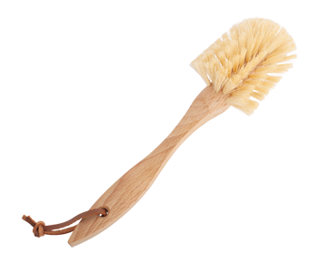 Dish Brush Curved Handle Leather Strap