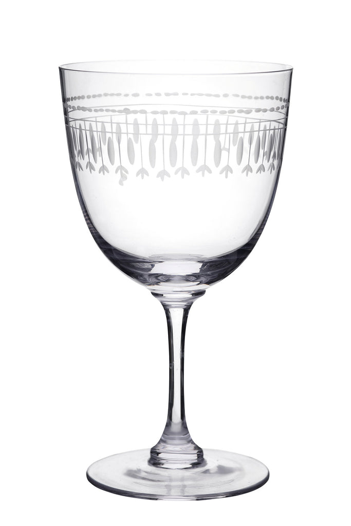 Set of Six Oval Crystal Wine Glasses