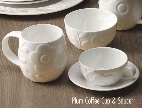 Plum Flower Small Coffee Cup and Saucer